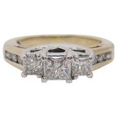 14 Karat Yellow and White Gold Three-Stone Princess Cut Diamond Engagement Ring