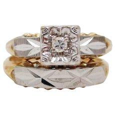 Midcentury 14K Gold Diamond Wedding Set in Box Made in USA