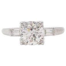 Art Deco Platinum 1+ Carat Old Euro Cut Diamond Engagement Ring