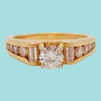 14 Karat Yellow Gold Round and Baguette Diamond Engagement Ring