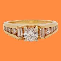 14 Karat Yellow Gold Round and Baguette Diamond Engagement Ring