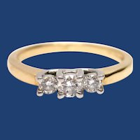 Platinum & 14K Gold Diamond Three Stone Engagement Ring