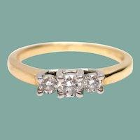 Platinum & 14K Gold Diamond Three Stone Engagement Ring