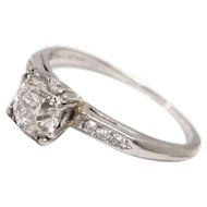 Vintage 0.80ct Old MIne Cut Diamond Platinum Engagement Ring