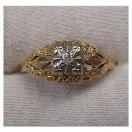 Diamond 14 Karat Gold Filigree Ring