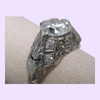 Art Deco 1.45 cttw Diamond Platinum Engagement Ring