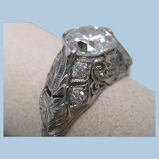 Art Deco 1.45 cttw Diamond Platinum Engagement Ring
