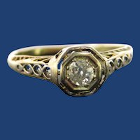 1920's 14K Yellow Gold Filagree Diamond Engagement Ring