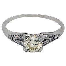Platinum Art Deco Natural Fancy Color Diamond Ring