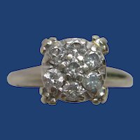0.25 ct. Diamond Cluster 14K White Gold Engagement Ring