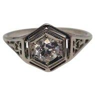 Art Deco 18 Karat White Gold Old Mine Cut Diamond Filigree Ring