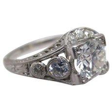 Art Deco 1+ carat Euro Cut in Platinum Ring