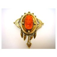 Victorian 14K Gold Pearl Coral Cameo Pin Pendant c.1890