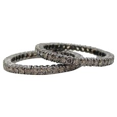 Pair of Natural Brown Diamond 14 Karat Black Rhodium Eternity Bands