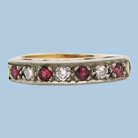 1960s 14K Yellow Gold Diamond and Ruby Band