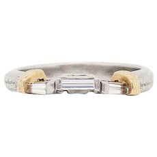 Platinum and 18 Karat Yellow Gold Baguette Diamond Wedding Band
