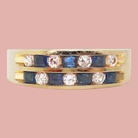 14 Karat Yellow Gold Channel Set Double Row Diamond and Sapphire Band Ring