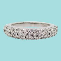 14 Karat White Gold Diamond Pavé Style Band