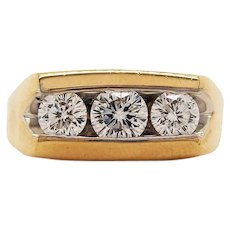 14 Karat Yellow Gold Three-Stone Leo Diamond Ring