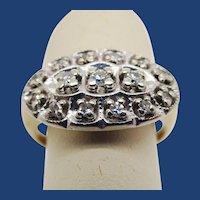 Vintage 14K White and Yellow Gold Two Tone Diamond Ring