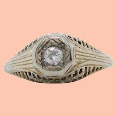 Vintage All Original 18K White Gold Filigree Diamond Engagement Ring