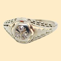 1920's Filigree 18K White Gold European Cut Diamond Engagement Ring