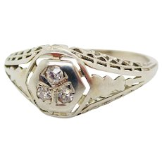 1920's Filigree 18K White Gold European Cut Diamond Engagement Ring