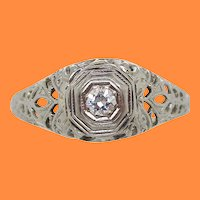 1925 Art Deco 18K White Gold Euro Cut Diamond Filigree Engagement Ring