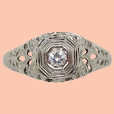 1925 Art Deco 18K White Gold Euro Cut Diamond Filigree Engagement Ring