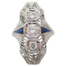 Art Deco 18 Karat White Gold Filigree and Blue Cocktail Statement Dinner Ring