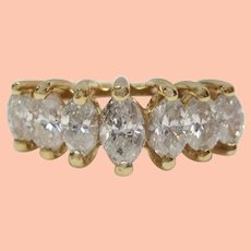 14K Yellow Gold 1 Carat Total Weight Marquise Cut Diamond Engagement Ring