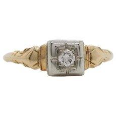 Vintage Art Deco 14K Yellow Gold Two Tone Diamond Ring