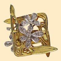 Vintage 18 Karat Two-Tone Gold Diamond Mid-Century Modern Ring