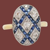 French Art Deco Diamond Sapphire Platinum on 18 Karat Gold Ring