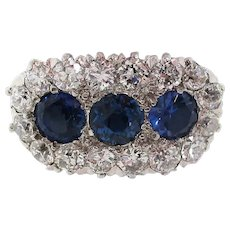 Edwardian Platinum 14 Karat Yellow Gold Diamond Sapphire Three-Stone Ring