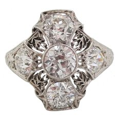 Deco Platinum Filigree Euro Cut Diamond Ring