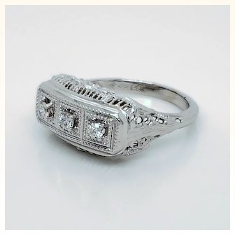 Three Stone Diamond 14K White Gold Filigree Ring