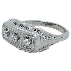 Three Stone Diamond 14K White Gold Filigree Ring