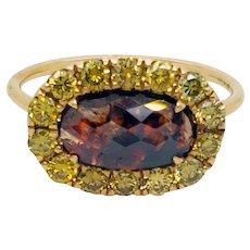Natural Orange 1.45 Carat Diamond 18K Yellow Gold Ring