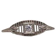 Art Deco 14 Karat White Gold Diamond Filigree Ring
