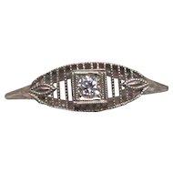 Art Deco 14 Karat White Gold Diamond Filigree Ring