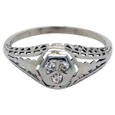 18K White Gold Filigree and European Cut Diamond Ring