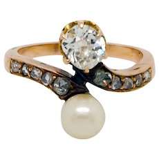 Victorian Mine Cut Diamond Pearl Bypass Yellow Gold Engagement Ring