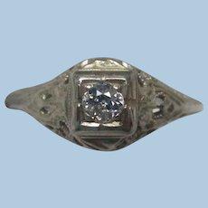 18K White Gold Filigree and Diamond Engagement Ring