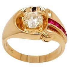 Retro 1940s Euro Cut Diamond and Ruby 14 Karat Gold Ring