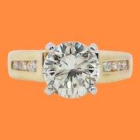 1.5+ Carat 14 Karat Yellow Gold Diamond Engagement Ring