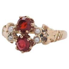 1890 Victorian 10 Karat Rose Gold Hand Engraved Red Garnet Seed Pearl Ring