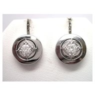 Retro Diamond 14K White Gold Earrings