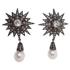 Victorian 18 Karat Gold 14 Carat Old Mine Cut Diamond Starburst Dangle Earrings