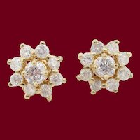 14 Karat Yellow Gold Diamond Stud Earrings with Diamond Jackets